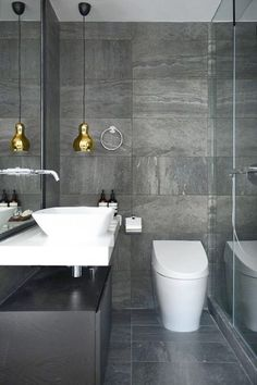Luxury Master Bathroom Ideas is completely important for your home. Whether you pick the Small Bathroom Decorating Ideas or Small Bathroom Decorating Ideas, you will create the best Luxury Bathroom Master Baths Wet Rooms for your own life. Grey Bathrooms Designs, Small Grey Bathrooms, Modern Bathrooms Interior, Grey Bathroom Tiles, Gray And White Bathroom, Bathroom Interior Design, Beautiful Bathrooms, Slate Tiles, Grey Tiles