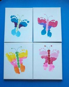 Our preschool mothers day gifts - foot butterfly canvases. / Preschool items - Juxtapost