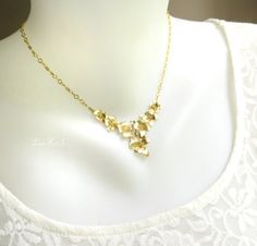 Gold Flower Necklace Gold Orchid Pendant Floral Gold by LoveHerSo