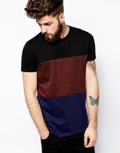 Image 1 of ASOS Stripe T-Shirt With Mercerised Cut And Sew Panels