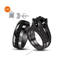 His & Her Black Real Diamond Rhodium Plated Engagement 3ps Trio Ring Set 4-1/2CT #br925silverczjewelry #TrioRingSet #WeddingEngagementAnniversaryBirthdayPartyGift