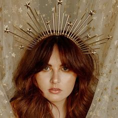 Halo Crown with Gold Star Detail Sunburst Crown   Etsy Wire Crown, Feather Crown, Gold Headpiece, Headdress, Halo Headband, Crystal Crown, Bridal Crown, Gold Stars, Or Antique