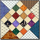 Country checkers quilt patterns.  Imagine it in 2 colors. Just blue and white.