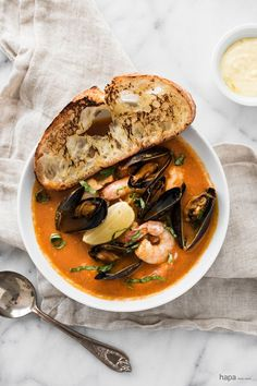 Easy Bouillabaisse - Fresh fish, mussels, clams, and shrimp in a rich broth and served with crusty saffron aioli toast. French Food, Thai Red Curry, Canning, French Cuisine, Preserve