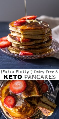(The Fluffiest!) Dairy Free & Keto Pancakes free keto breakfast (The Fluffiest! Dairy Free Keto Pancakes, Best Keto Pancakes, Dairy Free Keto Recipes, Low Carb Pancakes, Fluffiest Pancakes, Diet Recipes, Protein Recipes, Cheese Pancakes, Fluffy Pancakes