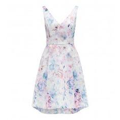 Fleur Baskılı V Yaka Elbise