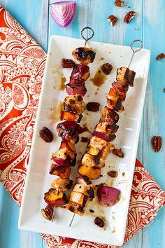 Honey-Glazed Chicken, Peach, and Sweet Potato Skewers