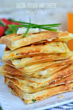 These freezer-friendly Bacon Potato and Cheese Waffles make school mornings just a little bit easier and a lot more yummy! Perfect for breakfast, brunch, or an after school snack! // Mom On Timeout Breakfast Dishes, Breakfast Time, Breakfast Recipes, Breakfast Waffles, Breakfast Ideas, Mexican Breakfast, Pancake Recipes, Breakfast Sandwiches, Breakfast Healthy