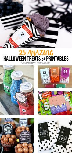 Today I have rounded up 25 AMAZING Halloween Treats and Printables! In the collection I have delicious homemade treats and printables to pair with store bought candy to make it fast an easy! Fun Halloween Crafts, Scary Halloween Decorations, Halloween Projects, Cute Halloween, Holidays Halloween, Halloween Treats, Halloween Costumes, Hallowen Ideas, Holidays And Events