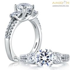 A. Jaffe 18kt White Gold Trellis Three Stone Semi-Mount Engagement Ring. Diamonds Of .85ctw Set Along Split Shank. Signature Euro-Shank mes278/236. Featured Diamonds have at least G/H color and VS clarity. Amidon Jewelers. *This ring is made to order Please allow 3 weeks for creation and delivery on sized ring orders.