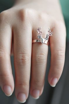 Sterling silver deer with flower ring rose gold deer by TedandMag