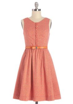 Bubble Take Dress. One of your favorite things about wearing this clay-orange, Myrtlewood dress - which is exclusive to ModCloth - is the delighted reactions of those who glimpse you in it. #redNaN
