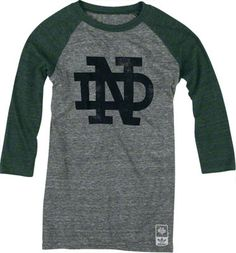 Notre Dame Fighting Irish adidas Originals Women's Vintage Mascot 3/4 Sleeve Tri-Blend T-Shirt