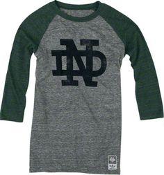 Notre Dame Fighting Irish adidas Originals Women's Vintage Mascot 3/4 Sleeve Tri-Blend T-Shirt