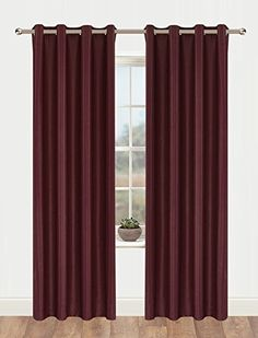 Onlyyou Home Decorations Thermal Insulated Solid Grommet Top Blackout Living Room Curtains  Drape for Winter 1 Pair 52 x 72Inch Burgundy Red ** Click image to review more details.