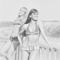 Models Sally Bodington (left) and Caroline Munro wearing bikinis, 19th May 1971.