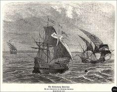 Die Entdeckung Amerikas - Die drei Karavellen von Christoph Kolumbus, Holzstich un 1860