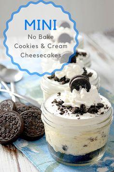 mini no bake cookies and cream cheesecakes hero