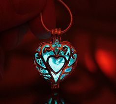 HEART+Locket+2+pendants+in+one+GLOW+in+the+DARK+by+Papillon9,+$39.95