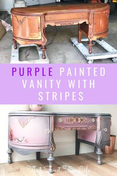 This stunning painted wood vanity is a statement piece in a soft purple color with stripes. Painting a wood vanity may seem intimidating, but I'm breaking it down in this DIY tutorial. PIN for later. Painted Furniture For Sale, Chalk Paint Furniture, Diy Furniture Projects, Recycled Furniture, Colorful Furniture, Diy Craft Projects, Furniture Makeover, Furniture Vanity, Chair Makeover