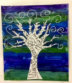 """Middle School """"All About Me"""" Trees #trees #middleschoolart #artsed"""