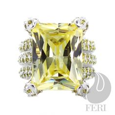 - 925 fine sterling silver - micron natural rhodium plating - Set with AAA white cubic zirconia and yellow cubic zirconia Global Wealth Trade Corporation - FERI Designer Lines Perfect Gift For Her, Gifts For Her, Sterling Silver Jewelry, Silver Rings, Jewlery, Branding Design, Just For You, Gemstones, Engagement