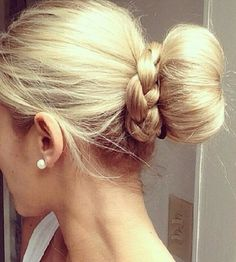Hair bun and braid. I want to try this!!