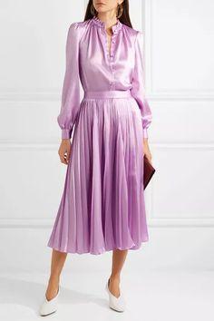 Co Satin-twill Blouse - Pink - ShopStyle Longsleeve Tops Unique Dresses, Pretty Dresses, Beautiful Dresses, Silk Satin Dress, Satin Dresses, Pink Satin, Satin Pleated Skirt, Blouse Dress, Dress Skirt