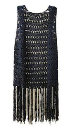 black long fringed sleeveless tunic cardigan top