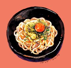 Noodles ~ illustration Food Art, A Food, Food And Drink, Pinterest Instagram, Food Sketch, Food Cartoon, Watercolor Food, Food Painting, Food Journal