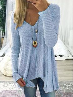 Long Sleeve V Neck Loose Sweater Dress Autumn Winter Casual Knit Pullover Sweaters Loose Sweater, Long Sleeve Sweater, Gray Sweater, Look Fashion, Fashion Design, Fashion Trends, Latest Fashion, Female Fashion, Fashion Online