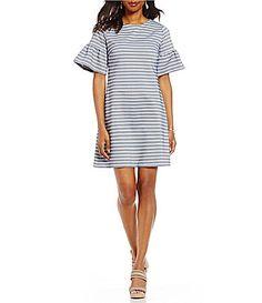 Ivanka Trump Stripe Jacquard Knit Ruffle Bell Sleeve Sheath Dress #Dillards