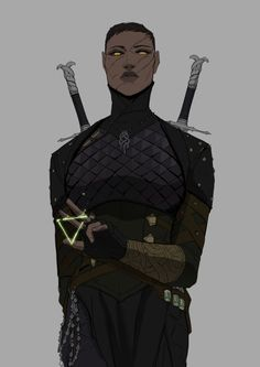character art Here comes the Viper witcher lass and she dont mess about. Black Characters, Dnd Characters, Fantasy Characters, Female Characters, Fantasy Character Design, Character Drawing, Character Design Inspiration, Character Concept Art, Dark Fantasy
