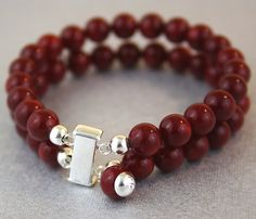 Huge Red Coral Charm Bracelet Sterling by PlatiniFineJewellery, $47.00
