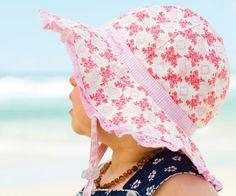 a6eae8081bf Baby GirlsFloppy Hat - Evie Pink Cotton hat with gorgeous floral material  with a check band and lace edging