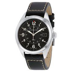 Hamilton Khaki Field Black Dial Black Leather Watch H68551733 - Khaki Field - Hamilton - Watches - Jomashop
