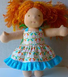 9 inch or 10 inch Doll Sundress featuring  Riley Blake Happier Birds #rileyblake #happier