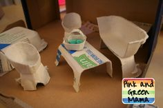 Pink and Green Mama: Cardboard Shoe Box Play House With Egg Carton Furniture