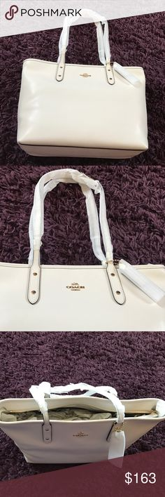 """💜COACH ZIP CITY TOTE NWT Beautiful Crossgrain Leather City Zip Coach Tote white/chalk with golden hardware 11.75"""" L x 10.5""""H x 5.5W Coach Bags Totes"""