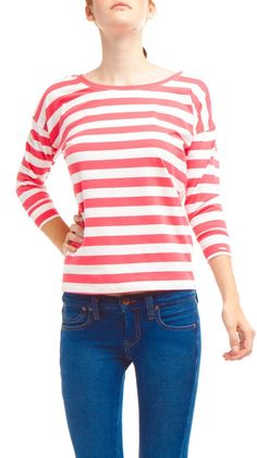 3/4 Sleeve Large Stripe Oversize Top, Coral/ White by Dex