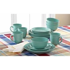 Mainstays 16-Piece Round Dinnerware Set in Aqua blue   home ~ decor ...