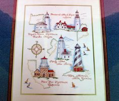 """For Sale: Historic Lighthousess Needle Treasures Cross Stitch Kit in my Etsy shop """"cottonpickincute"""" here: https://www.etsy.com/listing/248286733/historic-lighthousess-needle-treasures?ref=shop_home_active_14"""