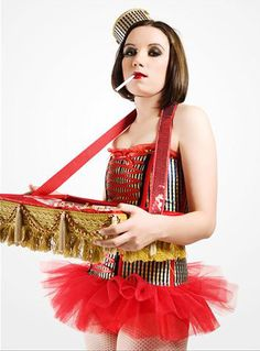 Cigarette and Candy girl Halloween Carnival, Halloween 2014, Halloween Party, Halloween Costumes, Halloween Movies, Cigarette Girl Costume, Circus Characters, Circus Costume, Great Gatsby Theme
