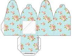 Caixa com Foto Floral Vintage Azul e Rosa: