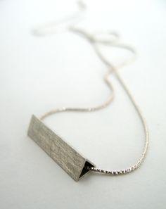 Modern, simple silver necklace, geometric / Nowoczesny, srebrny naszyjnik, matowy, geometryczna zawieszka yuvel.pl