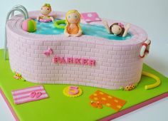 Swimming Time by Eunice Cake Designs Pool Birthday Cakes, Pool Party Cakes, Themed Birthday Cakes, Birthday Ideas, 9th Birthday, Crazy Cakes, Fancy Cakes, Cute Cakes, Awesome Cakes
