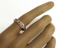 Diamond and ruby band ring with full circle of stones, 9 carat yellow and white gold setting, 11 diamonds, 11 rubies, 3 grams, size O / 7.25 by CardCurios on Etsy Carat Gold, Vintage Rings, Band Rings, Round Diamonds, Anniversary Gifts, Diamond Cuts, Wedding Bands, Stones, Silver Rings