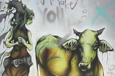 """One of my older paintings, some of the random script in Cow Girl, reads, """"it never has been a personality problem"""". Grafitti Street, Street Art, Cut Out Shapes, Sweet Soul, Mystic, Oil On Canvas, Cow Girl, Horses"""