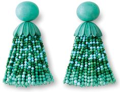 Hemmerle 'Egyptian Story' tassel earrings with turquoise, malachite, white gold and copper.
