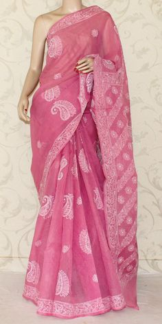 Lucknowi Chikan Saree (W/B-Cotton) 12879